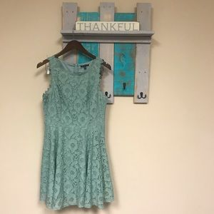Mint Green Lace Overlay Midi Easter Spring Dress